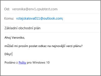 Vyplňte Předmět a text e-mailu a klikněte na Odeslat.