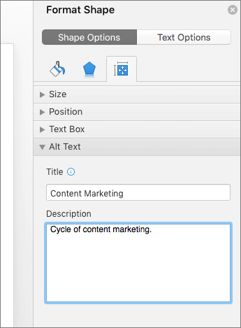 Snímek obrazovky v podokně Formát obrazce s poli alternativního textu s popisem vybraného obrázku SmartArt