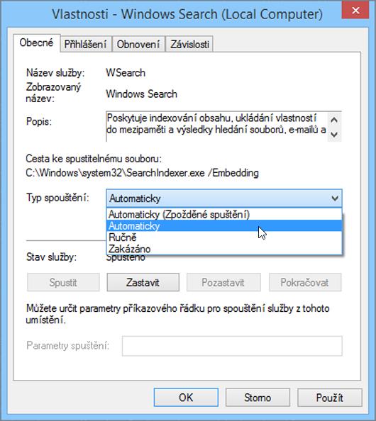 Snímek obrazovky s dialogem vlastnosti vyhledávání Windows zobrazuje požadované nastavení pro typ spouštění zaškrtnutá možnost Automatic.