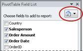 Tlačítko pro zobrazení seznamu polí kontingenční tabulky