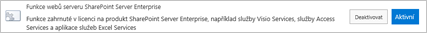 Aktivace funkce webů serveru SharePoint Server Enterprise