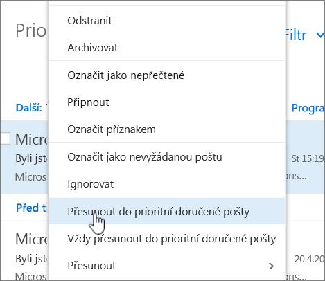 Snímek obrazovky složky Doručená pošta se > filtru zobrazení zaměření vybranou složku Doručená pošta.