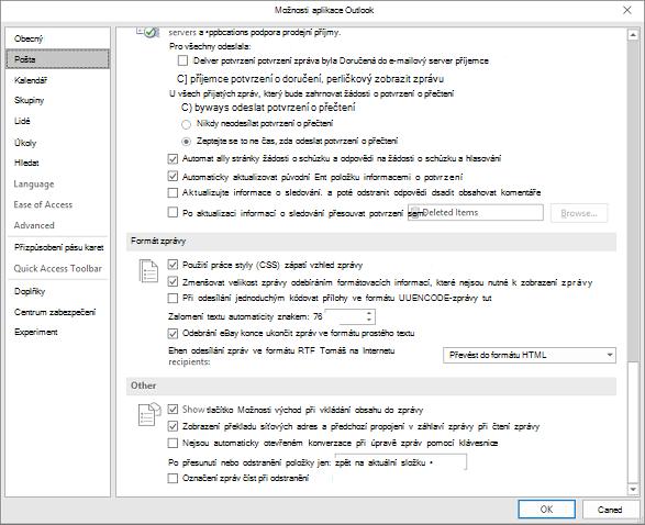 Stránka Možnosti aplikace Outlook pošta kategorií zvýrazní se