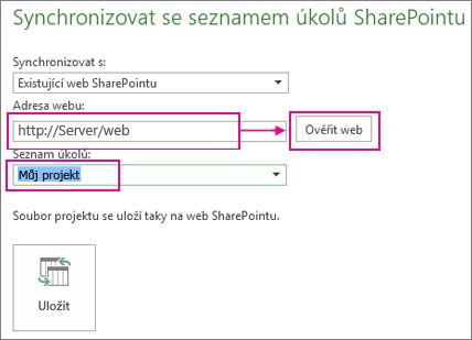 Uložení projektu do SharePointu