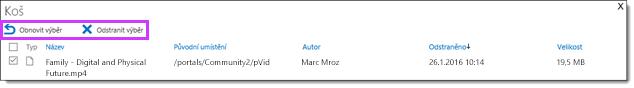 Obnovení nebo odstranění videa v Office 365 Videu