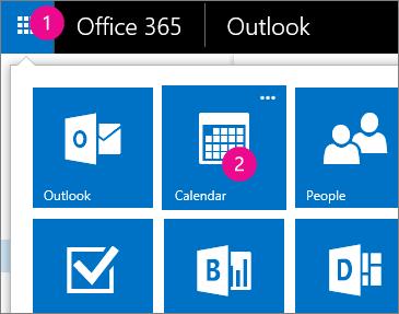 Nabídka Otevřít kalendář v Outlook Web Appu