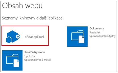 Tlačítko Přidat aplikaci na stránce sdílených aplikací