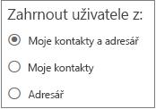 Filtr pro vyhledávání lidí v Outlooku