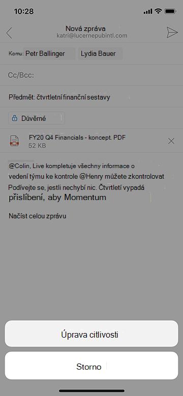 Úprava citlivosti v aplikaci Outlook Mobile