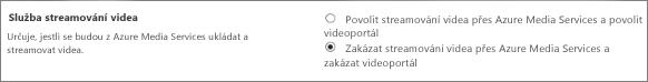 Vypnutí Office 365 Videa v centru pro správu SharePointu Online