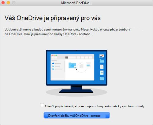 Snímek poslední obrazovky průvodce Vítá vás OneDrive na Macu