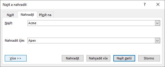 Dialogové okno Najít a nahradit v Outlooku