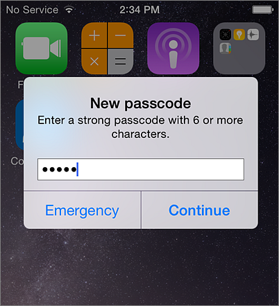 Create mobile password iPhone
