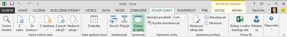 Pás karet Power Query