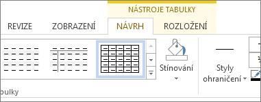 Karta Nástroje tabulky