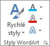 Skupina stylů WordArtu zobrazující jenom ikony