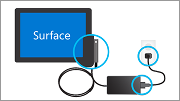 Připojení nabíječky k Surface