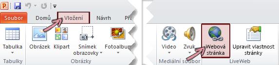 Doplněk LiveWeb najdete na pásu karet pod kartou Vložení úplně napravo