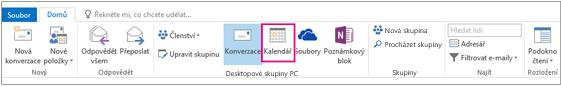 Tlačítko Kalendář na pásu karet skupiny v Outlooku