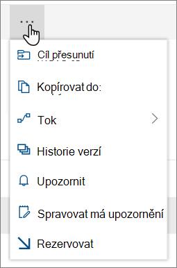 Možnosti nabídky Přesunout do a Kopírovat do v horní navigaci pro SharePoint Online, když jsou vybrané soubory nebo složky