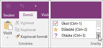 Snímek obrazovky se seznamem značek ve OneNotu 2016