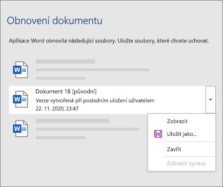Originální dokument naposledy uložený uživatelem uvedený v podokně Obnovení dokumentu