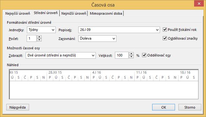 Timescale dialog box