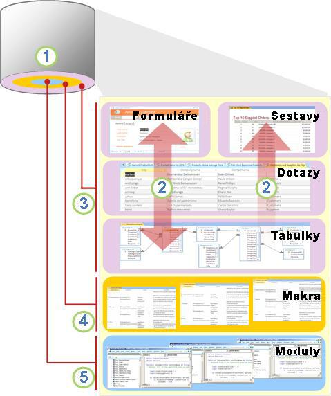 Přehled součástí a uživatelů Accessu