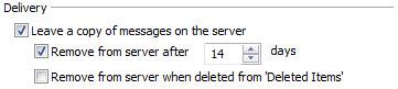 Oddíl doručení na kartě Upřesnit dialogového okna nastavení e-mailu sítě Internet