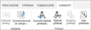 Snímek karty Varianty z cílového webu. Karta obsahuje dvě skupiny, varianty a překlad.
