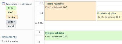 Kalendář skupiny s prostředky