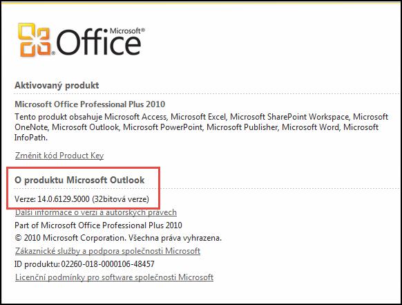 Snímek obrazovky stránky, kde můžete zkontrolovat verze Outlooku 2010, v části o aplikaci Microsoft Outlook