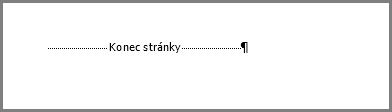 Konec stránky v dolní části stránky Wordu