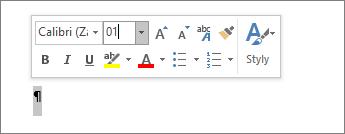Nastavení velikosti písma na hodnotu 1