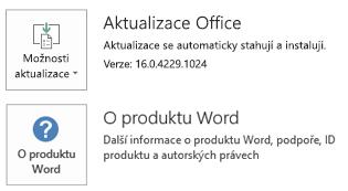 Pokud je Office nainstalovaný pomocí technologie Klikni a spusť, vypadají informace o aplikaci a aktualizacích takto.
