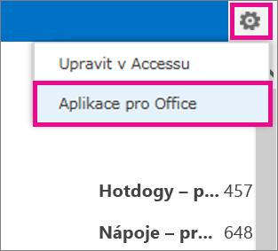 Příkaz Aplikace pro Office v nabídce Nastavení
