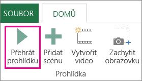 Tlačítko Přehrát prohlídku v okně Power Map