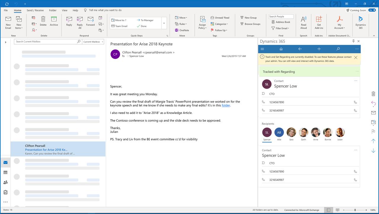 Aplikace Dynamics 365 pro aplikaci Outlook bez synchronizace na straně serveru – snímek obrazovky