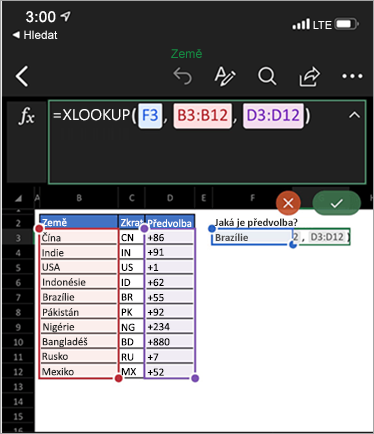 Zobrazuje funkci XLookup