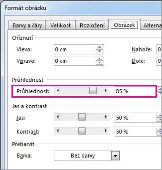 Snímek obrazovky s dialogovým oknem Formát obrázku v Publisheru