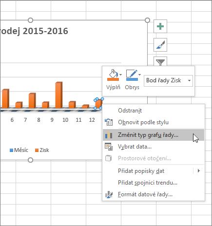 Klikněte pravým tlačítkem na graf a najdete v článku možnosti formátování