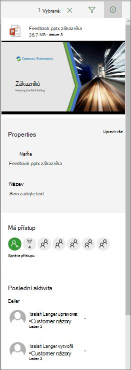 Informace o panelech podrobností dokumentu