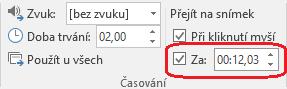 Do pole po na kartě přechody na pásu karet v PowerPointu nastavte časování automatického Posun snímku.