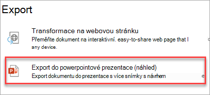 Export do powerpointové prezentace