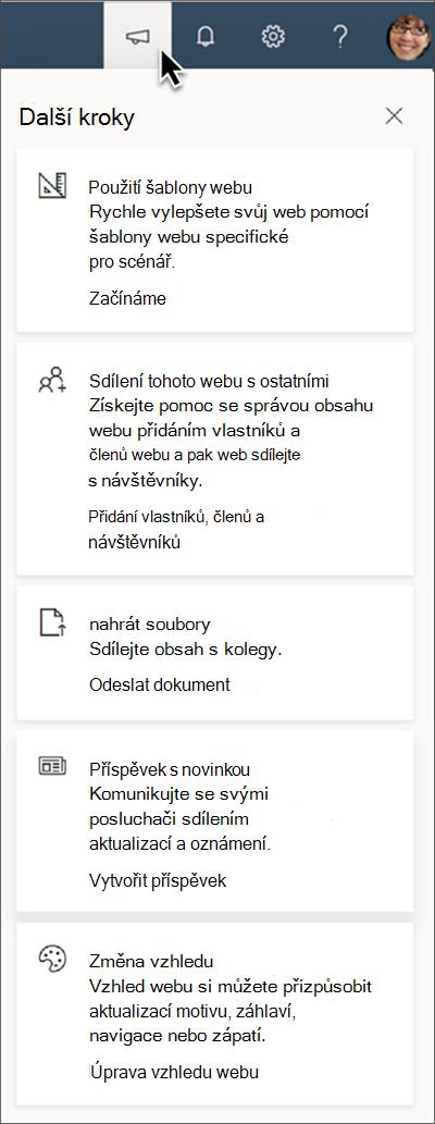 Obrázek tipů na panelu další kroky