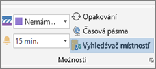 Tlačítko Vyhledání místnosti v Outlooku 2013