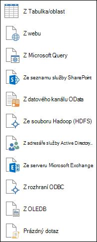 Načtení dat z jiných zdrojů