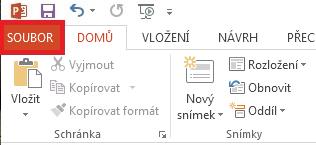 V levé horní části obrazovky klikněte na SOUBOR.