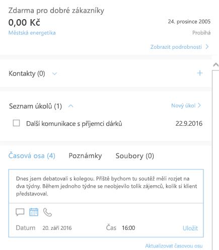 Přidání nové aktivity v Outlook Customer Manageru