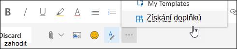 Snímek obrazovky s tlačítkem načíst doplňky